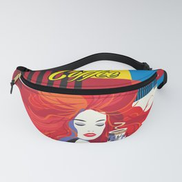 """Beautiful Fashion Woman and Coffee Cup"" POP-ART poster, Retro, Design Fanny Pack"