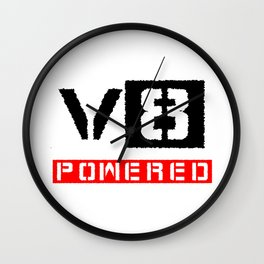 V8 powered red Wall Clock