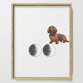 I Love My Dachshund To The Moon And Back Serving Tray