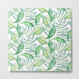 Tropical Green Leafs Pattern Metal Print