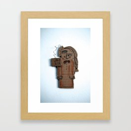 the sad cardboard girl Framed Art Print