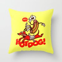 hot dog Throw Pillows featuring Hot Dog! by Gimetzco's Damaged Goods