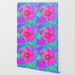 Psychedelic Pink and Red Hibiscus Flower Wallpaper