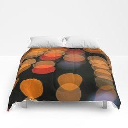 Blurred Orange Lights Comforters