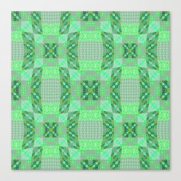 Adorable Geometric Quilt in Retro Lime and Grey Canvas Print