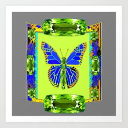 BLUE & GREEN  BUTTERFLY PERIDOT GEMMED GEOMETRIC Art Print