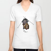 knitting V-neck T-shirts featuring Knitting Love by Yerbabuena Design