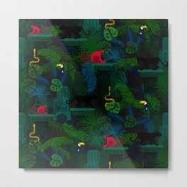 Animals in the jungle on the ruins Metal Print