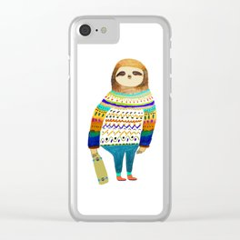 Hipster sloth skateboarder Clear iPhone Case