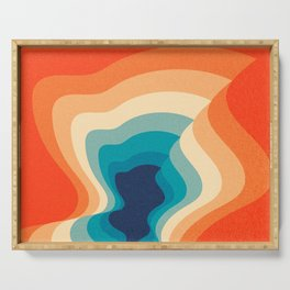 Retro 70s and 80s Color Palette Mid-Century Minimalist Abstract Art Serving Tray