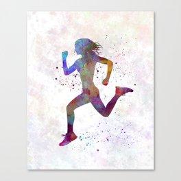 woman runner running jogger jogging silhouette 01 Canvas Print