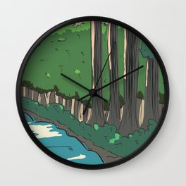 japanese river landscape Wall Clock