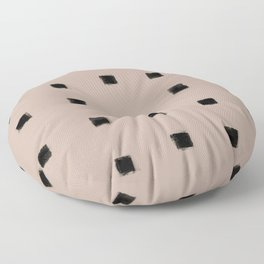 Polka Strokes Gapped - Black on Nude Floor Pillow