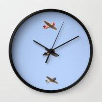 boys Wall Clocks featuring Fly Boys by Leah McPhail