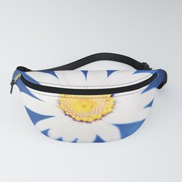 Royal Blue Yellow White Daisy Flower Photography, Bright Colorful Nature Photo Fanny Pack