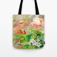 vintage floral Tote Bags featuring Vintage Floral  by Colorful Art