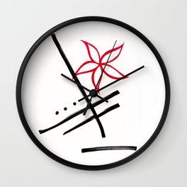 minimalist flower : red Wall Clock
