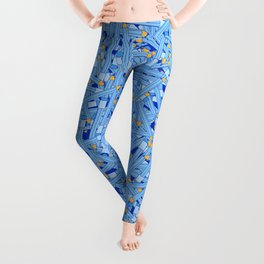 Bedtime Stories BLUE / Cartoon pencil pattern Leggings