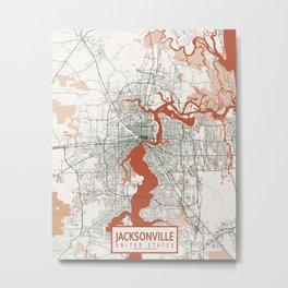 Jacksonville City Map of Florida, USA - Bohemian Metal Print
