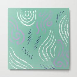 Mint green abstract print with navy, cream, lavender Metal Print