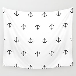 Many stamped black anchors Wall Tapestry