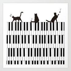Piano Cat Art Print