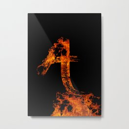 Burning on Fire Letter A Metal Print