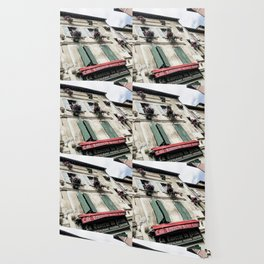 French Cafe   Desaturated Pizzeria Creperie Restaurant Red Awning Old Building Architecture Wallpaper