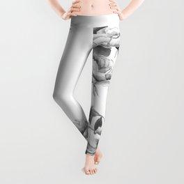 black and white peonies Leggings
