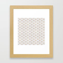 Chic white faux gold glitter modern stars pattern Framed Art Print