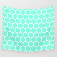 honeycomb Wall Tapestries featuring Mint Honeycomb by Beautiful Homes
