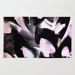 black, pink and white abstract painting Rug