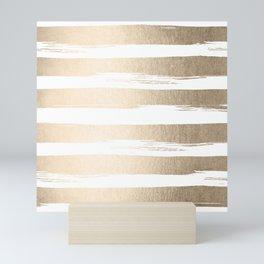 White Gold Sands Painted Thick Stripes Mini Art Print