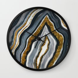 Grey and gold geode Wall Clock