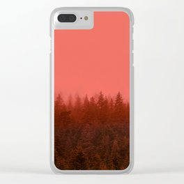 0388 Chocolate Forest with Living_Coral Fog, AK Clear iPhone Case