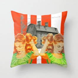 LET US STRAIGHTEN OUT OUR HAIR... OUTSIDE Throw Pillow