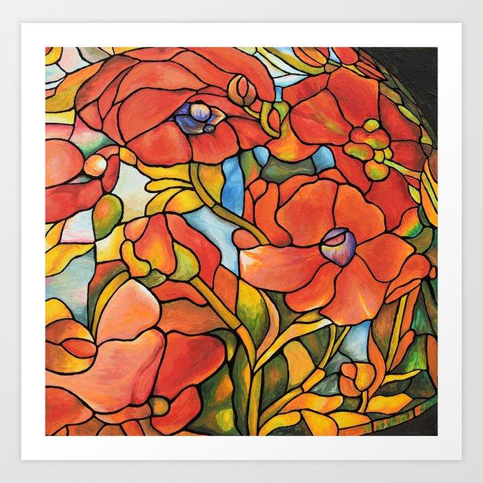 Red Poppy Lamp Art Print