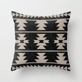 Southwestern Pattern 129 Black and Linen Throw Pillow