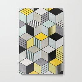 Colorful Concrete Cubes 2 - Yellow, Blue, Grey Metal Print