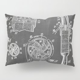 Rocket Ship Patent - Nasa Rocketship Art - Black Chalkboard Pillow Sham
