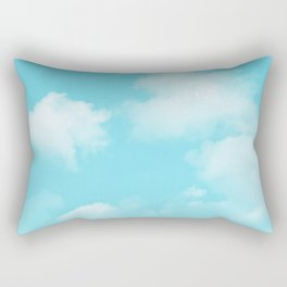 Aqua Blue Clouds Rectangular Pillow