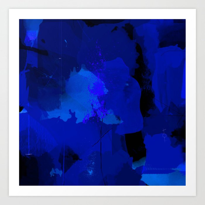 Night Blue Strokes Dark Blue And Black Abstract Painting B01yk Art Print By Peraboom Society6