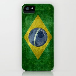 Flag of Brazil with football (soccer ball) retro style iPhone Case