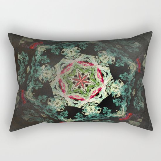 Dark forest mosaic kaleidoscope Rectangular Pillow