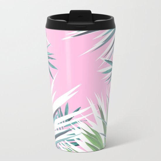 Tropical leaves pink and turquoise Metal Travel Mug