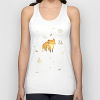 face Tank Tops featuring Lonely Winter Fox by Teagan White