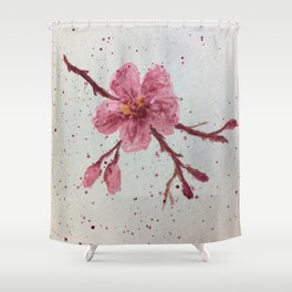 Sakura branch in Watercolor Shower Curtain