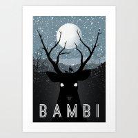 bambi Art Prints featuring Bambi by Rowan Stocks-Moore