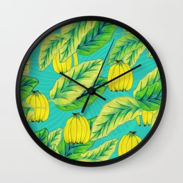 Banana Jungle - Blue Wall Clock