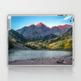 Maroon Bells Morning - Sunrise and Autumn Color near Aspen, Colorado Laptop & iPad Skin
